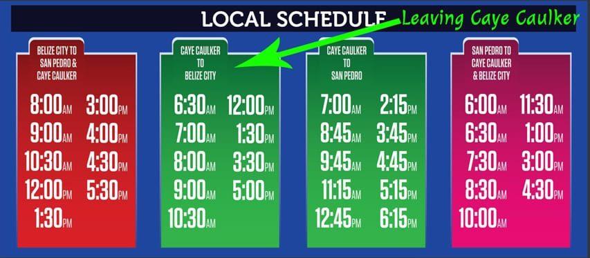 caye caulker watertaxi departure-schedule